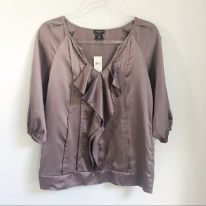 Ann Taylor | Smoky Purple Pleated Blouse